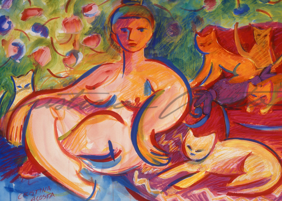 Goddess With Cats Art | Cristina Acosta Art & Design llc