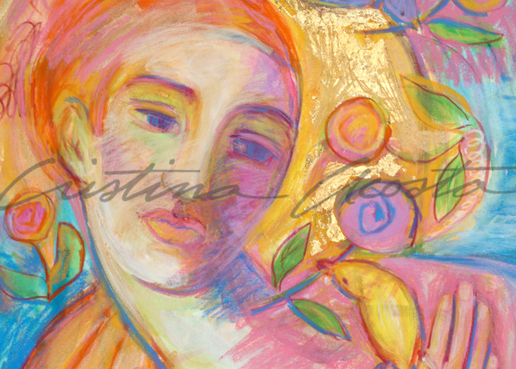 Contemplation With Flowers Art | Cristina Acosta Art & Design llc