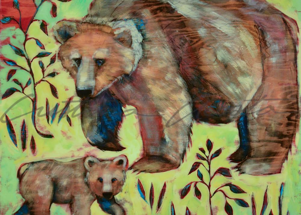 Mama bear with baby bear cub