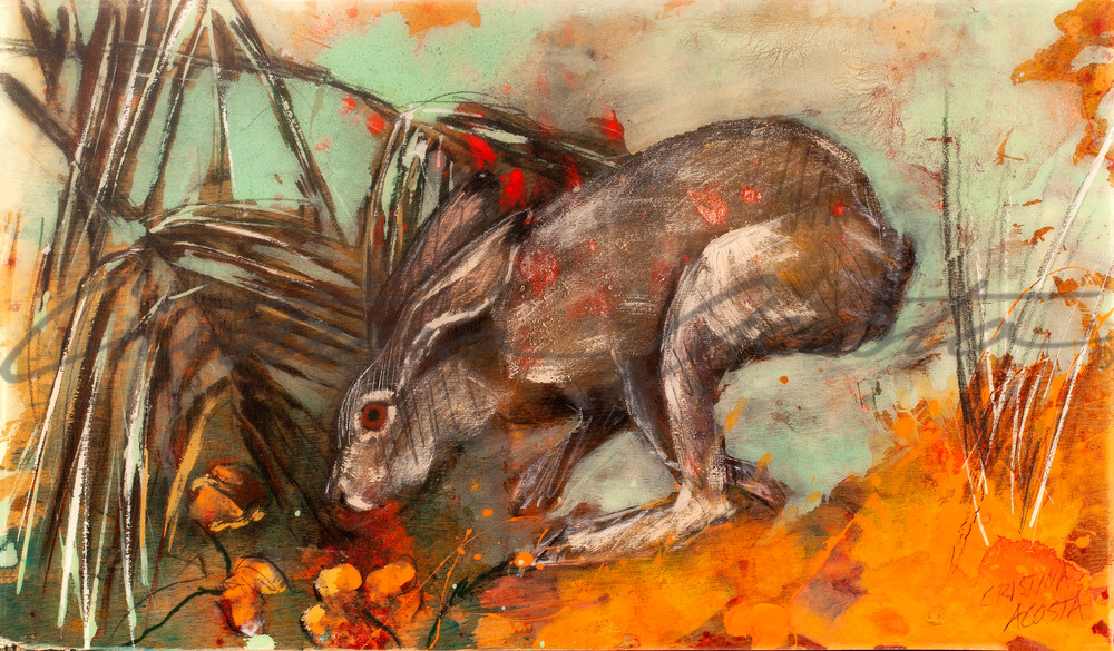 Jackrabbit with California Poppies original art