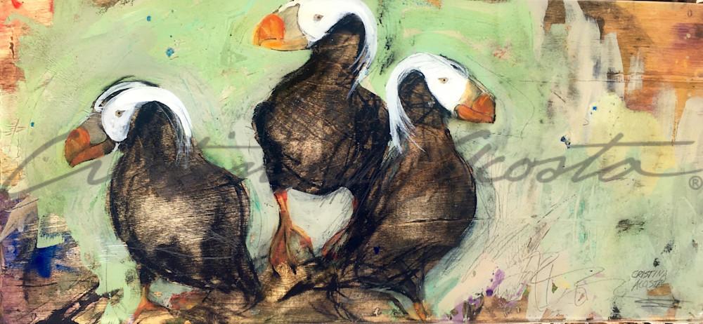 Puffin Gathering Art | Cristina Acosta Art & Design llc