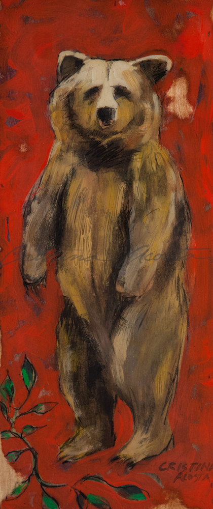 standing bear red background
