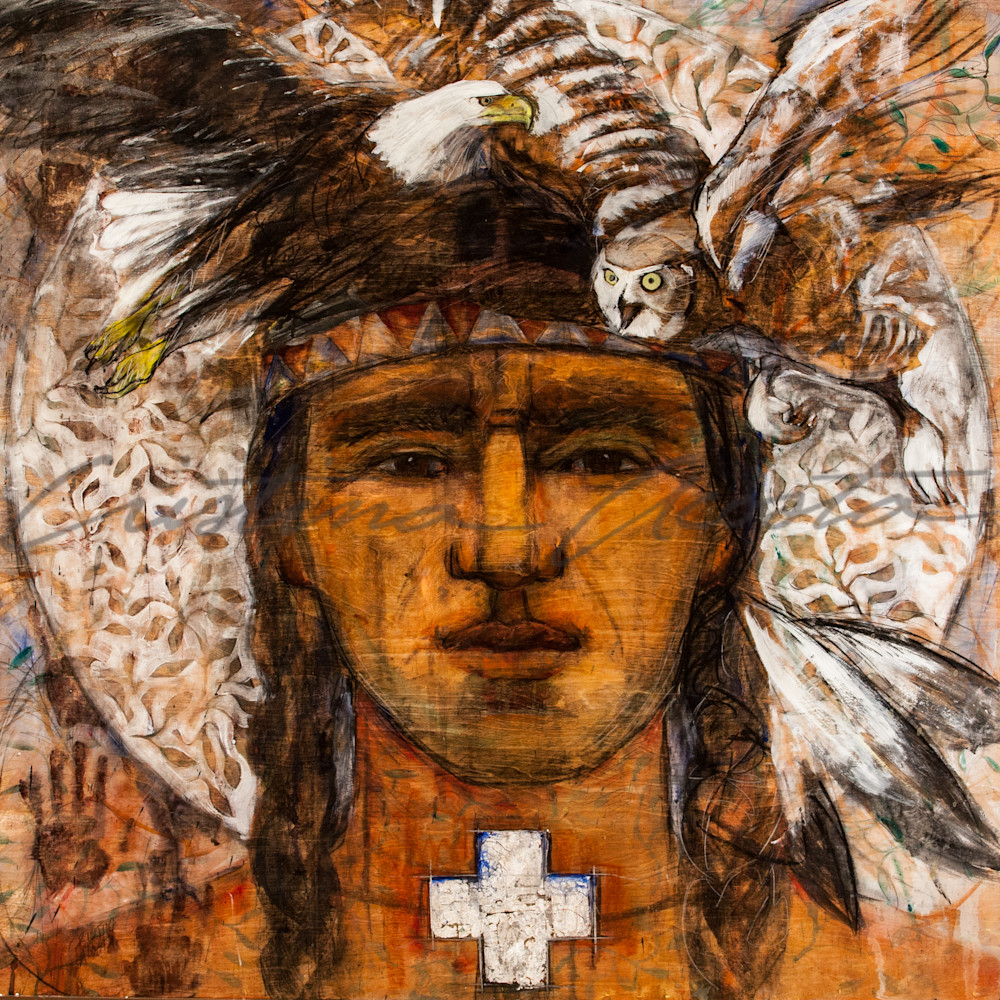 Balance of Wisdom and Strength Native American Man Art