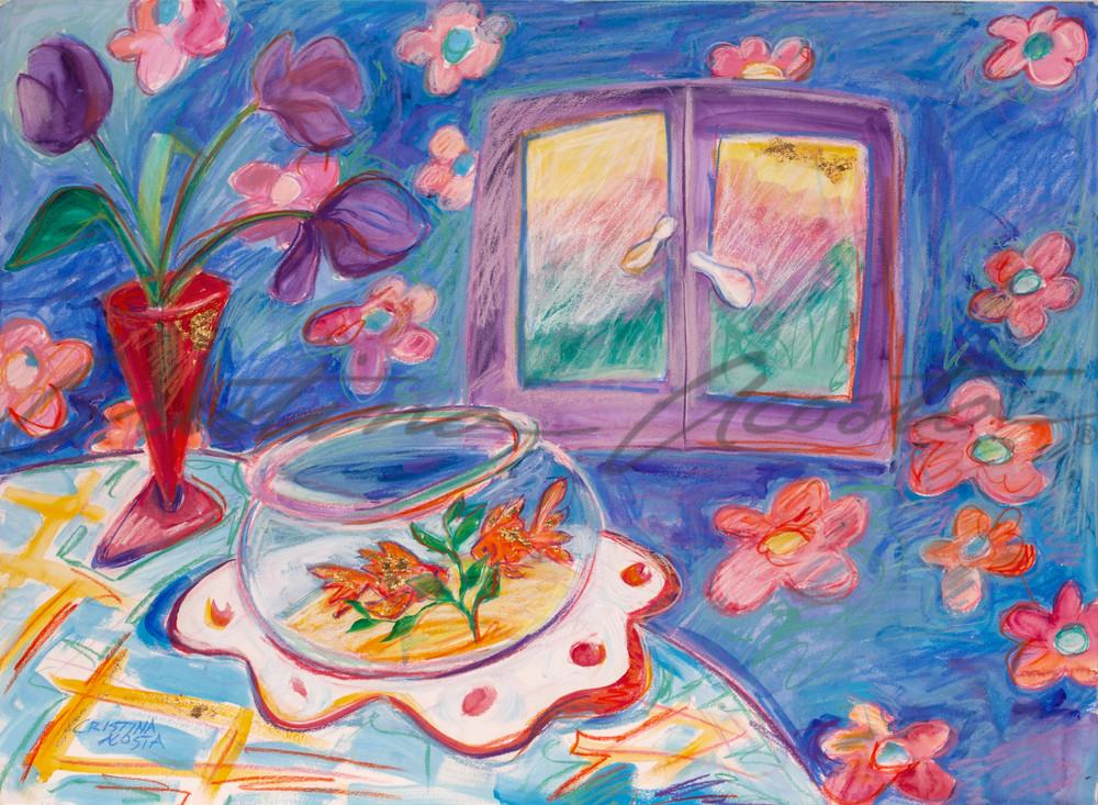 Goldfish with Purple Daffodils
