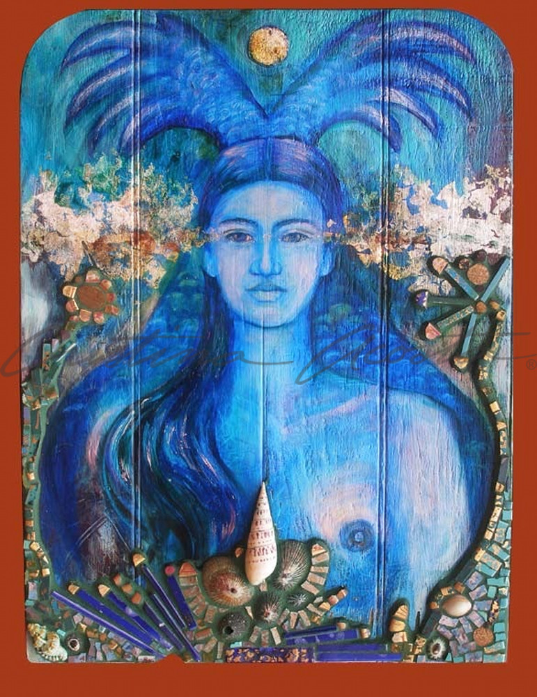la sirena blue mermaid exvoto retablo