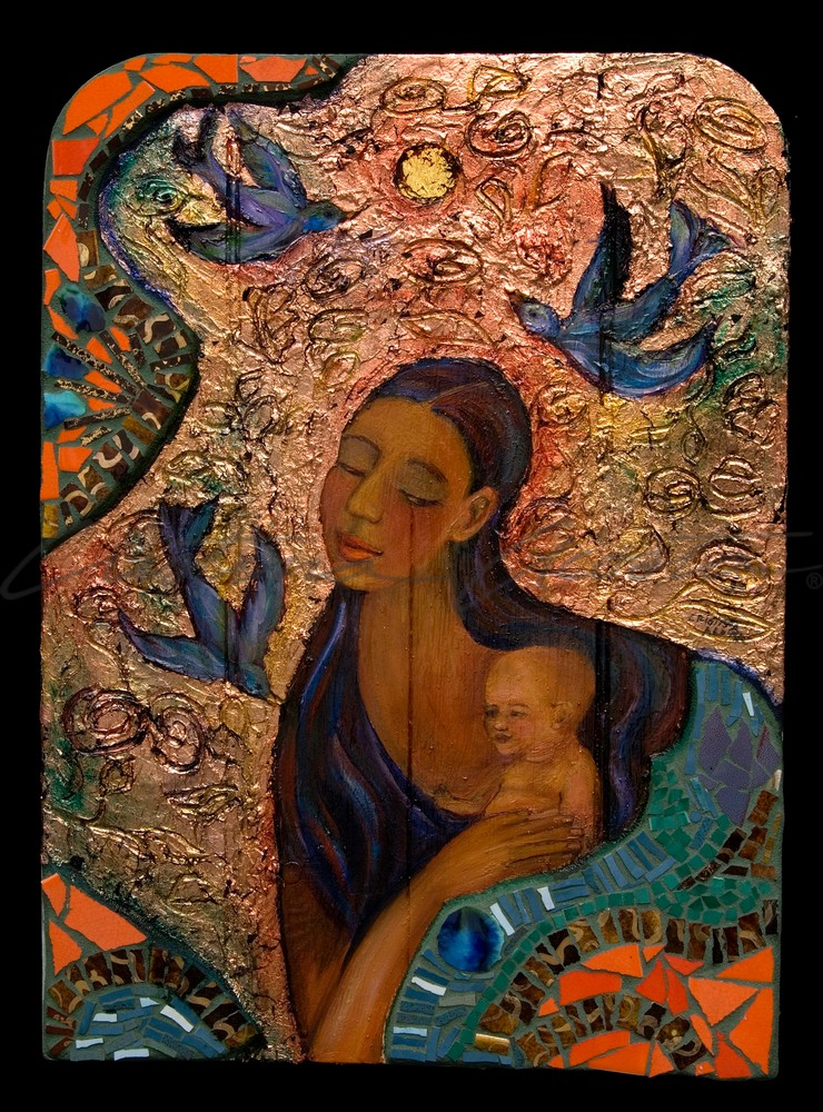 Madonna with Tear, La Virgen with Baby Jesus