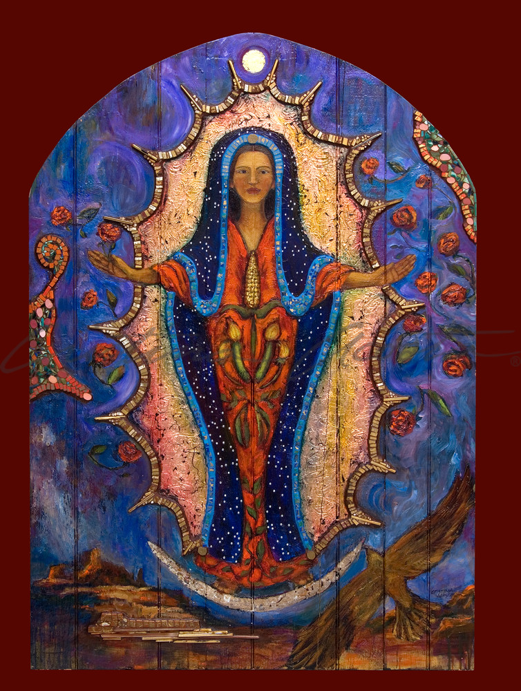 guadalupe with three sisters corn squash beans retablo