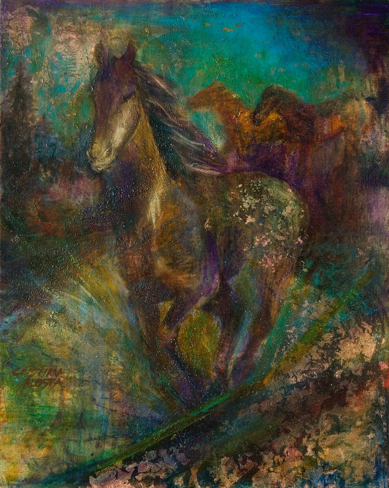 Running Horses Under Turquoise
