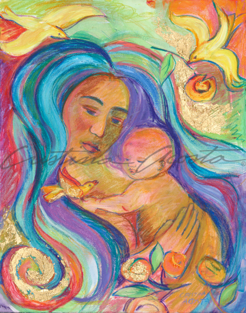Mother And Child With Bird Art | Cristina Acosta Art & Design llc
