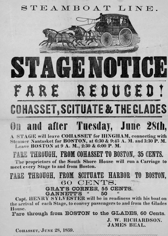 Cohasset Scituate Stagecoach Notice 1850 Art   Frame Center