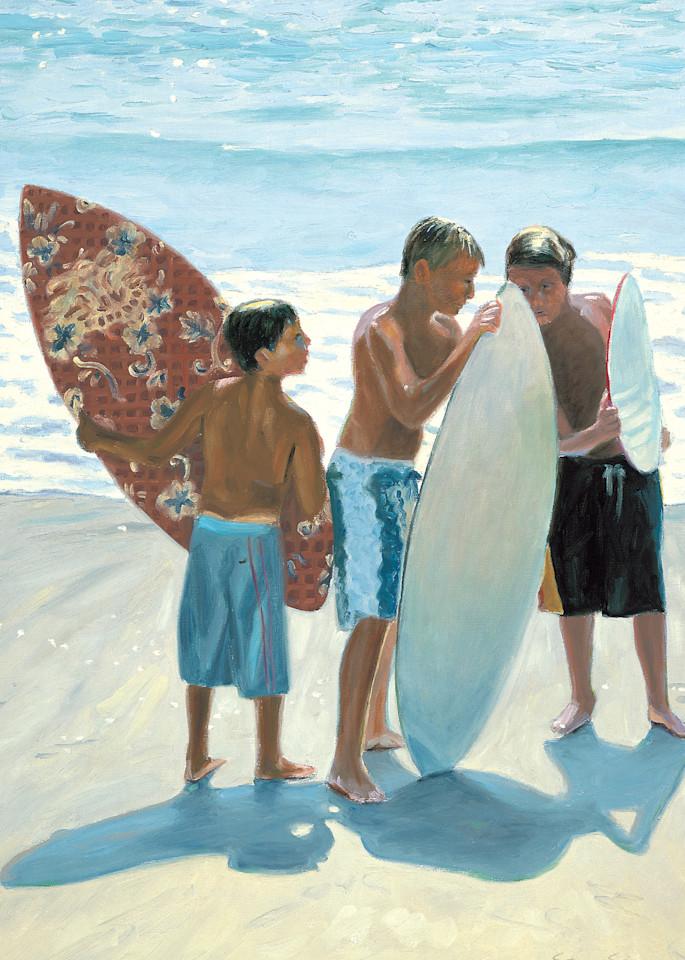 Boys with Skimboards on Beach