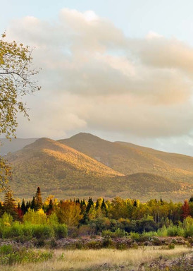 Peter Wnek captures a pastoral panoramic view of the Twin Mountains of New Hampshire on an Autumn Afternoon.