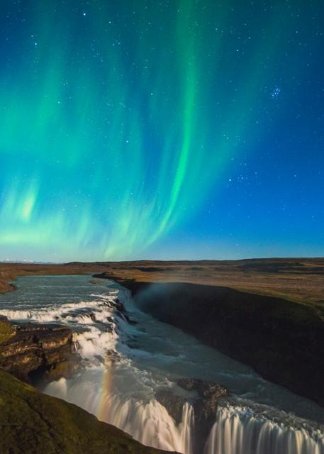Auroras over Gullfoss Print