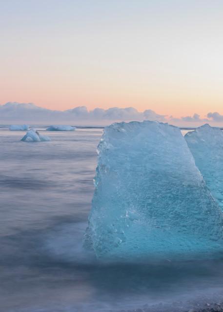 Aqua Ice, Jokulsarlon Iceberg Beach print by Brad Scott