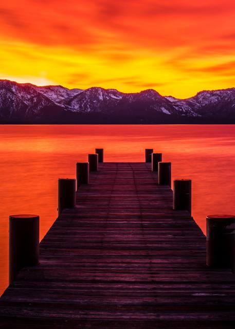 Tahoe Ablaze, Lake Tahoe Sunset art print by Brad Scott