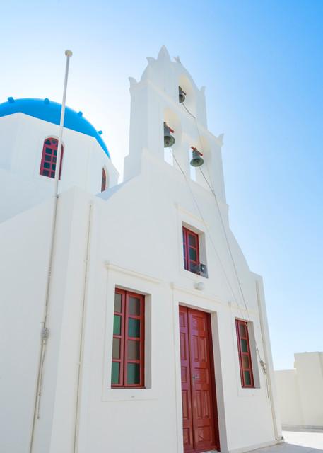 Red White and Blue Church, Oia, Santorini, Greece Print by Brad Scott