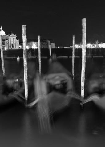 Blurred Gondolas, Venice Italy Panoramic Print by Brad Scott
