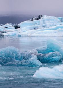 Jokulsarlon Glacier Ice Panorama by Brad Scott