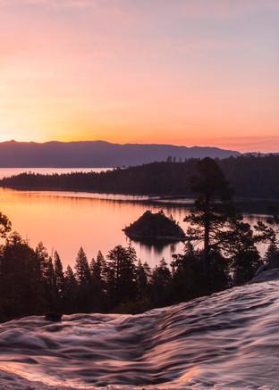 Tangerine Sunrise, Emerald Bay Lake Tahoe Photo Art by Brad Scott