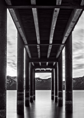 Window Of Perfection B&W, Lake Tahoe Pier Photo Print
