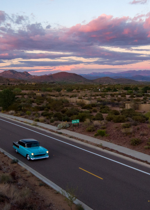 55 Chevy Desert Sunset Aerial Photography Print