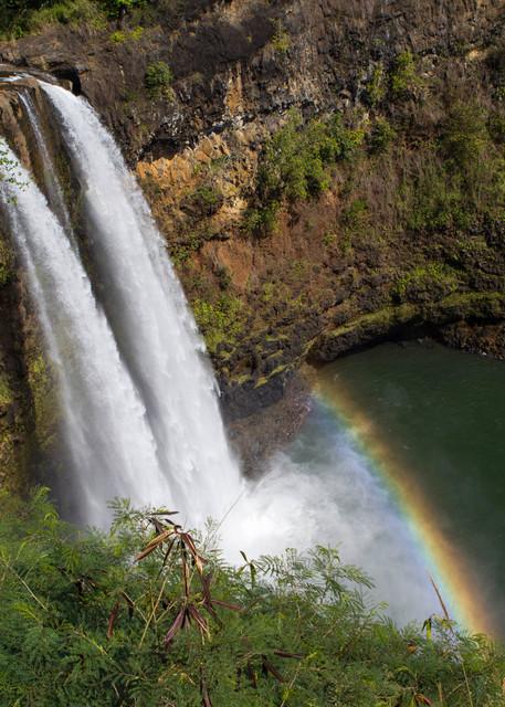 Wailua Falls, rainbow, Kauai