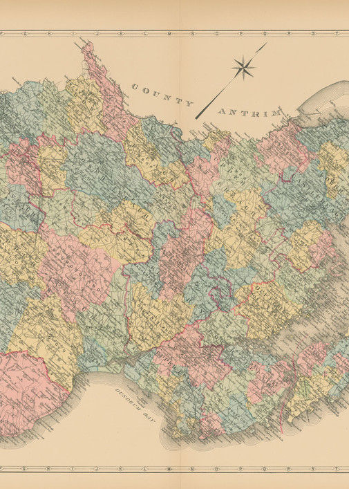 Map Of County Down Art | Frame Center