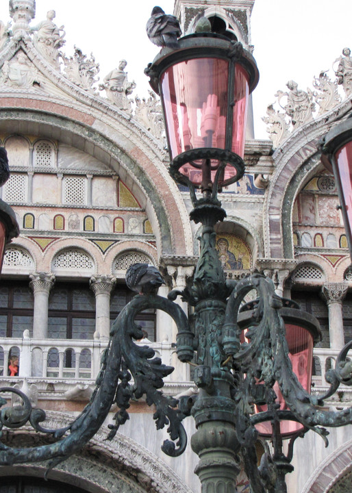 venice pink lampposts italy photograph