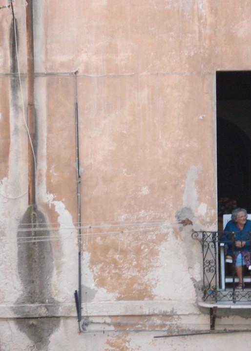 italy grandma sardinia streetscene neighbor