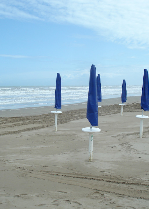 Blue Umbrellas And A Beach Photography Art | Photoissimo - Fine Art Photography