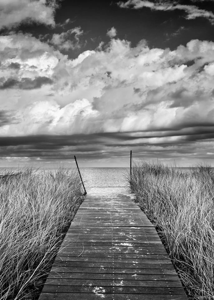 """Bend-in-the-Road Beach Path"" Black and white Martha's Vineyard beach photography"