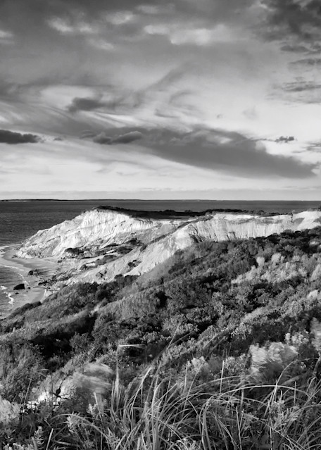 """Gay Head Sunset BW"" Black and white Martha's Vineyard lighthouse art photograph"