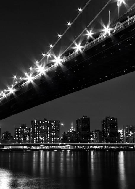 """Under the Manhattan Bridge"" Black and white NYC skyline photograph"