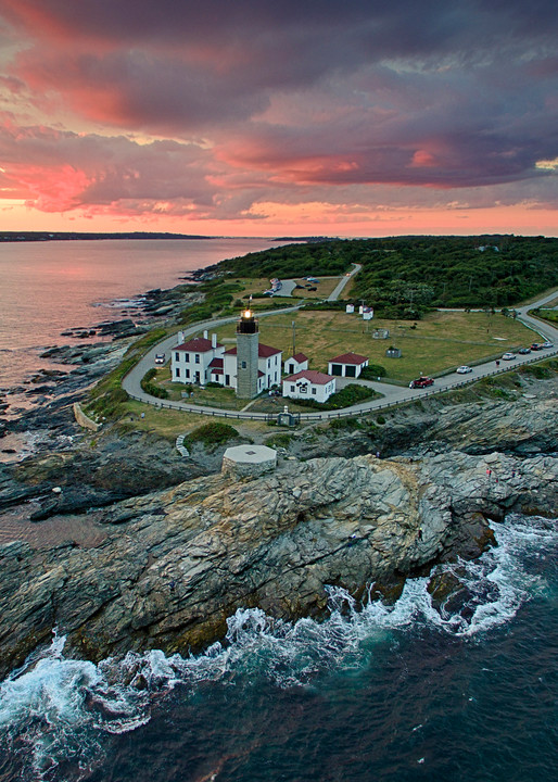 """Over Beavertail II"" Rhode Island aerial lighthouse photograph"