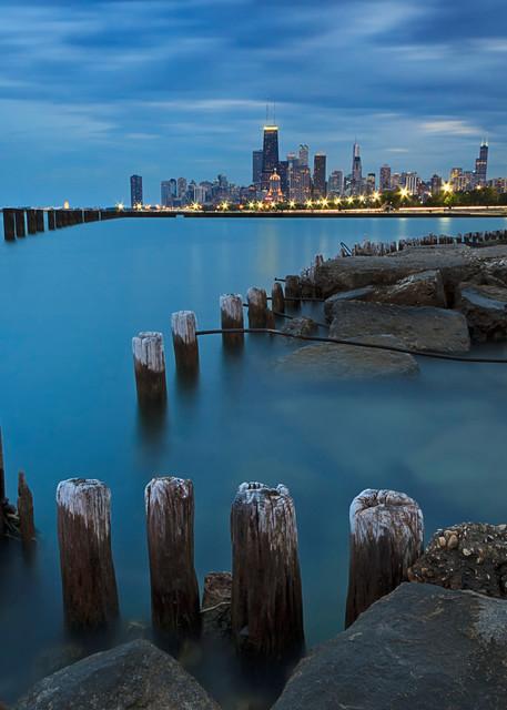 """Dusk on Chicago"" Fine art Chicago city skyline and Lake Michigan photograph"