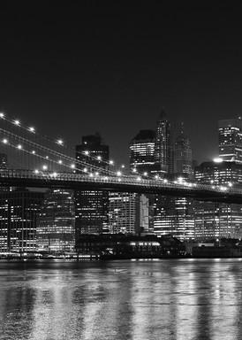 """Brooklyn Bridge at Night"" Black and white New York City skyline photography"