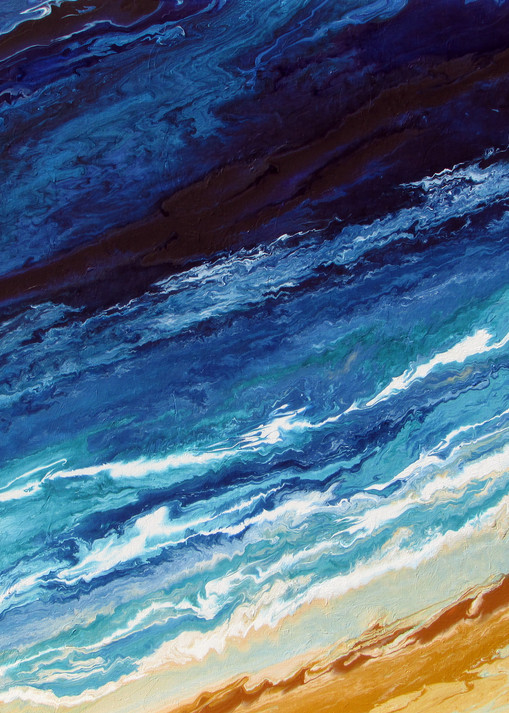 Abstract Blue Ocean Painting - Wave #10