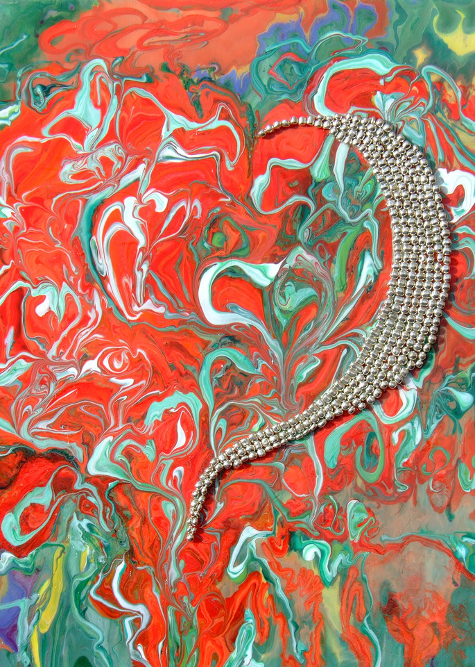 Romantic Valentine Heart of Silver Beads Abstract Art