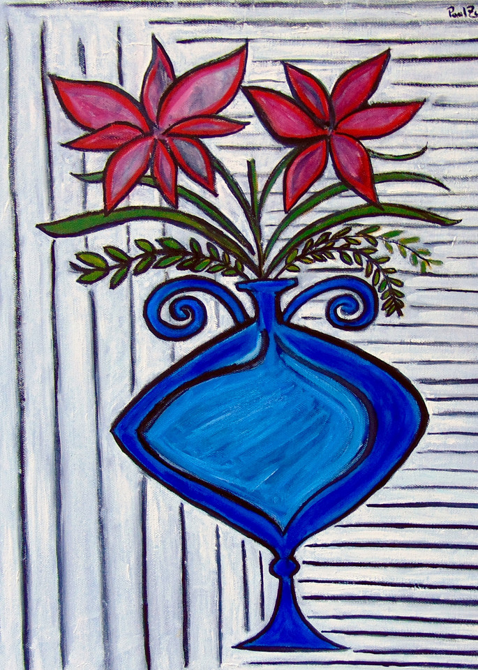 Two Pink Flowers Painting by Wet Paint NYC Artist Paul Zepeda