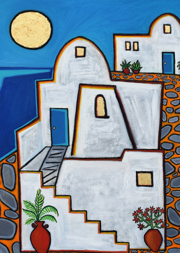 Santorini House Painting by Wet Paint NYC Artist Paul Zepeda