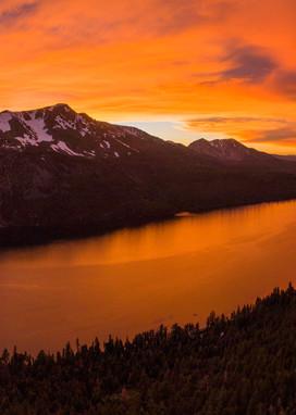 Burning Reflections - Fallen Leaf Lake Sunset Aerial Print