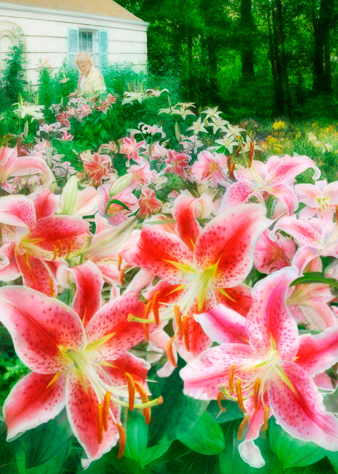 Mary's Dream Garden, wall art. A print of an original painting by the artist, Mary Ahern.