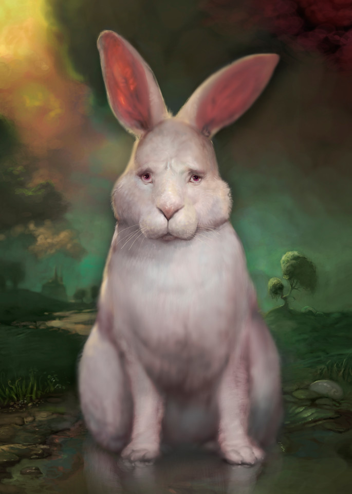 """Burton Gray's """"BUGSY,"""" White rabbit stares out at you."""
