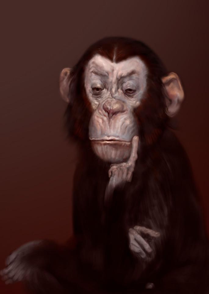 "Burton Gray's ""ALLENE,"" painting of a thinking monkey."