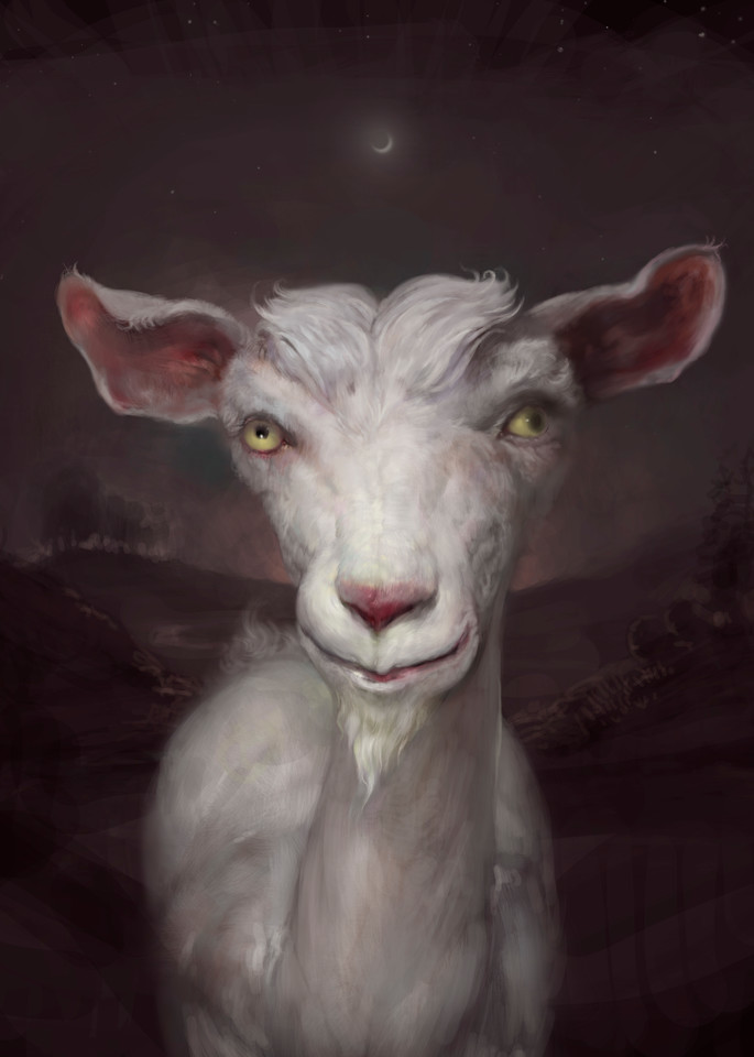 """Burton Gray's """"MEHRBY,"""" painting of a quirky goat."""