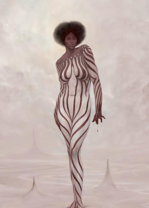 """ZEBRA,"" by Burton Gray, White Striped Nude Black Princess."