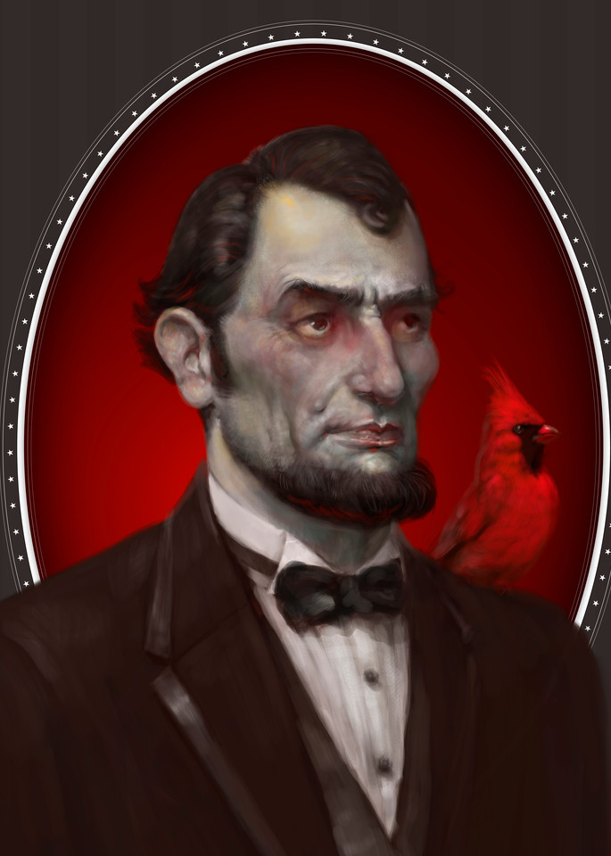"""""""LINCOLN,"""" by Burton Gray, Zombie Lincoln with red cardinal"""