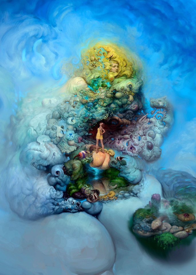 """""""BLUE GOLD,"""" by Burton Gray - a daydream fantasy painting."""