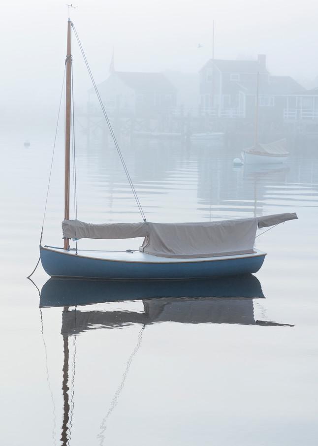 """Nantucket Harbor Sailboat in Fog"" Fine Art Nautical Boat Photography"