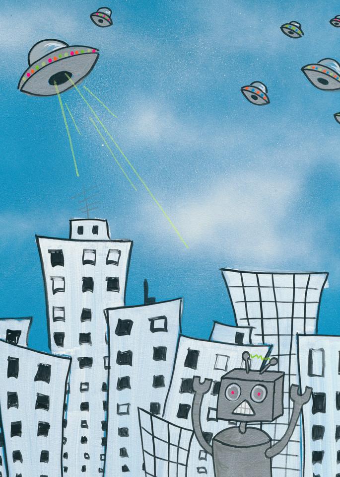 A robot fleeing UFOs.